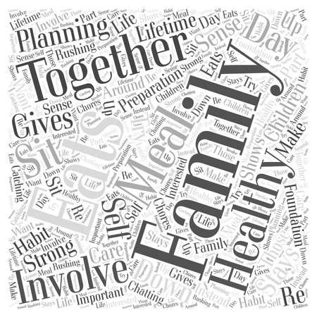 sentarse: La familia que come unida permanece sano concepto de nube de palabra Juntos