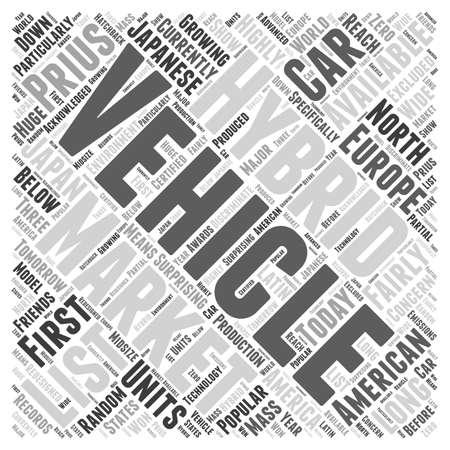 hybride voertuigen lijst word cloud concept Stock Illustratie