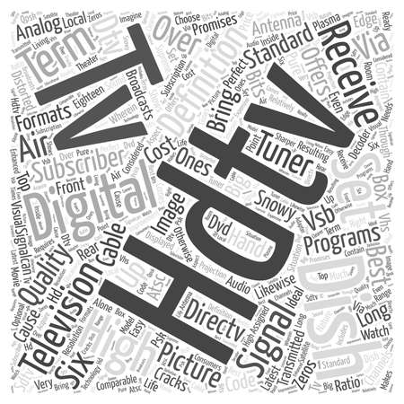dish tv hdtv word cloud concept Ilustrace