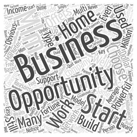 business opportunity: Work At Home Business Opportunity MLM word cloud concept