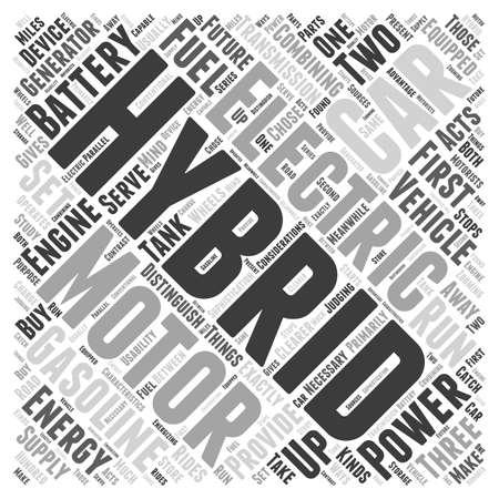 hybrid: hybrid cars word cloud concept Illustration