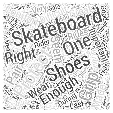skateboarding shoes word cloud concept Ilustração