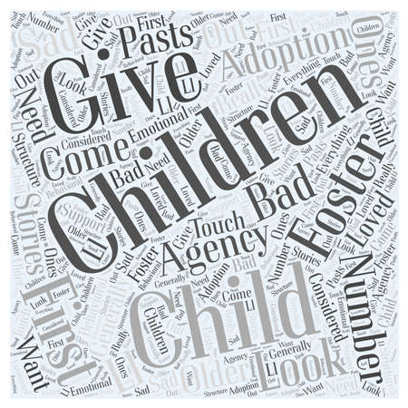 Foster Child Adoptie woord wolk concept