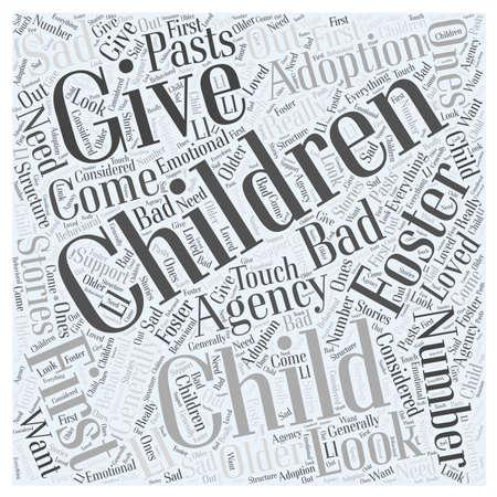 Foster Child Adoption word cloud concept Ilustracja