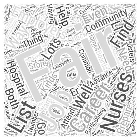 career fair: Finding your way in nursing career fair word cloud concept Illustration