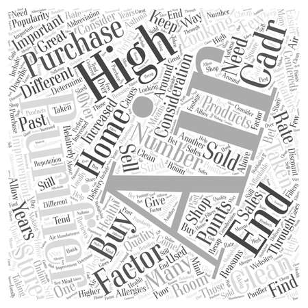 factors: Factors to Consider When Buying High End Air Purifiers word cloud concept