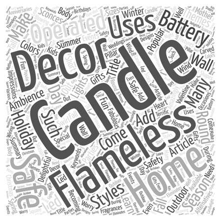 Vlamloze Kaarsen toevoegen Safe Verrukkelijke Ambience aan uw huis word cloud concept Stockfoto - 67300510