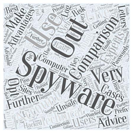 spyware comparison word cloud concept Illustration