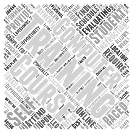Evaluating Computer Training Courses word cloud concept Иллюстрация
