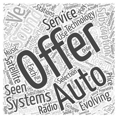 Evoluerende technologie en Auto Sound Systems-woordwolkconcept Stock Illustratie