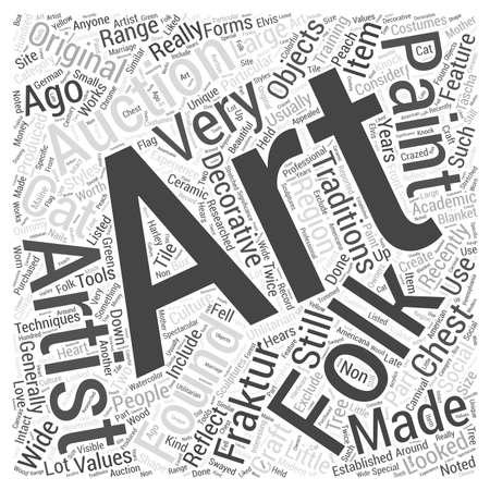 folk art auctions word cloud concept Vetores