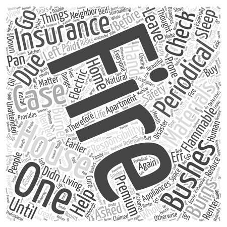 Fire Safety and Insurance word cloud concept Illustration