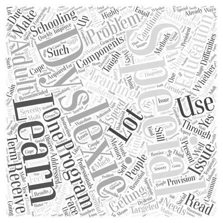 Special Educational And Training For Adult Dyslexics word cloud concept Ilustração