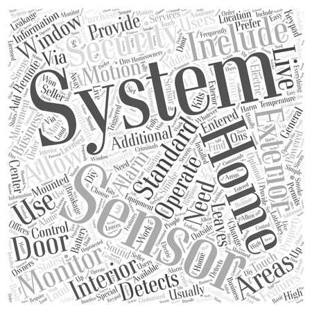 Standaard Home Security System Informatie word cloud concept Stock Illustratie