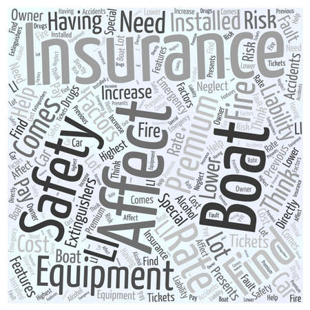 Factors that affect your boating insurance word cloud concept Illustration