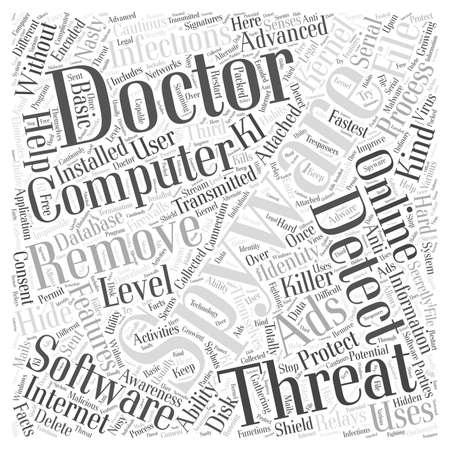 스파이웨어 의사 직렬 단어 구름 개념