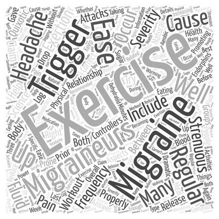 Exercise to Ease Migraines word cloud concept