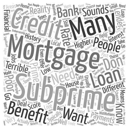 subprime: Subprime Mortgages word cloud concept