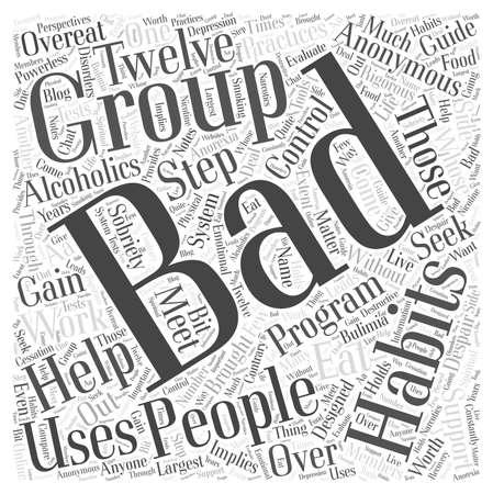 bad habits: Grupos de apoyo para personas con malos hábitos palabra concepto de la nube