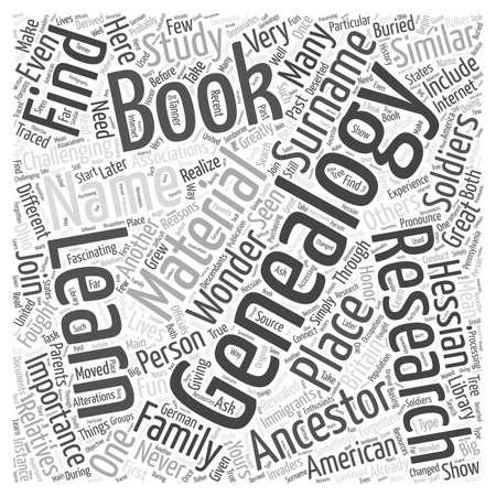 genealogy book word cloud concept Ilustrace