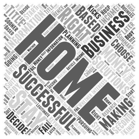 Successful Home Businesses A Second Income from Homes word cloud concept Vectores