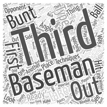viewing angle: Techniques for the Third Baseman word cloud concept Illustration