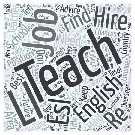 esl: Teach English word cloud concept Illustration