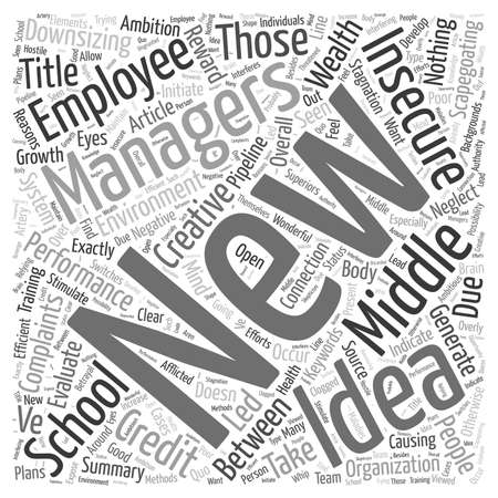 The Connection between the New Insecurity in Middle Management and Complaints of School Performance word cloud concept Stock Illustratie
