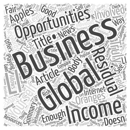 residual income: Global Business Opportunities word cloud concept Illustration