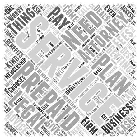 Die Vorteile von Prepaid Attorney Dienstleistungen Wort Cloud-Konzept