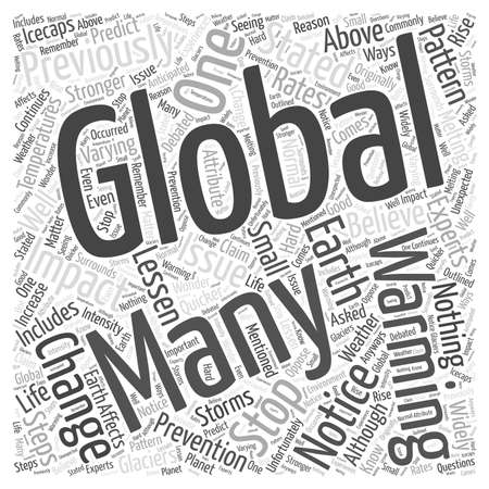 stopped: Global Warming Can It Be Stopped word cloud concept Illustration