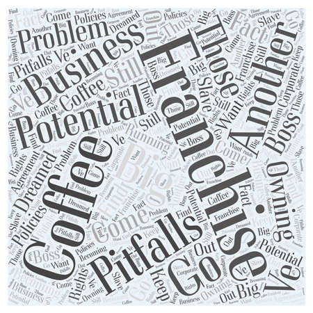 The Potential Pitfalls of a Coffee Franchise word cloud concept Ilustrace