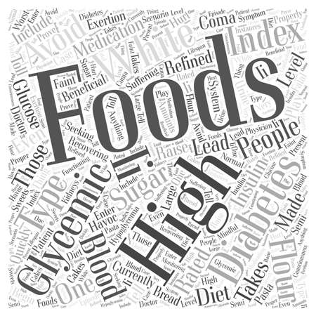 glycemic: High glycemic foods word cloud concept