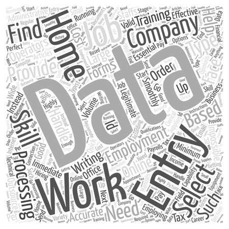 Home data entry employment word cloud concept Иллюстрация