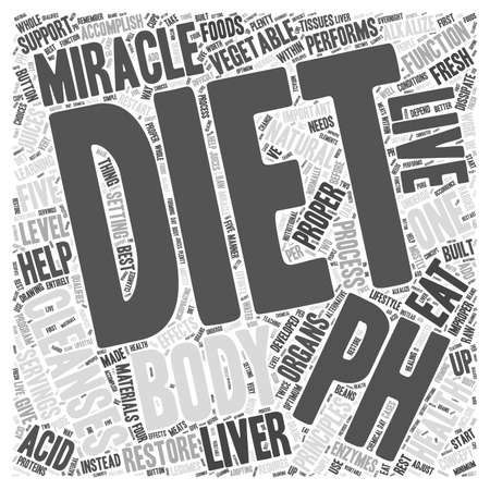 The pH miracle diet as a cleansing diet word cloud concept Çizim