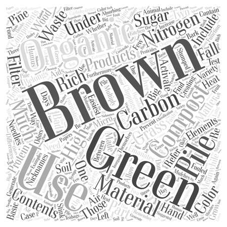 composting: The Greens and Browns of Composting word cloud concept Illustration