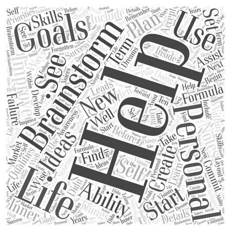 귀하의 개인 생활을 향상시키는 데 도움이되는 목표를 수립하는 공식 단어 구름 개념 스톡 콘텐츠 - 67300884