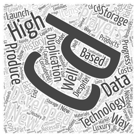 cds: the history of CDs and duplication word cloud concept