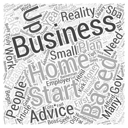 gov: Tips And Advice When Starting Your Home Based Business word cloud concept Illustration