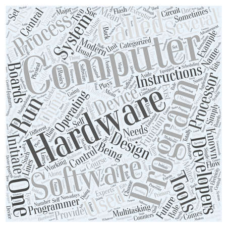 hardware development and computer programming word cloud concept
