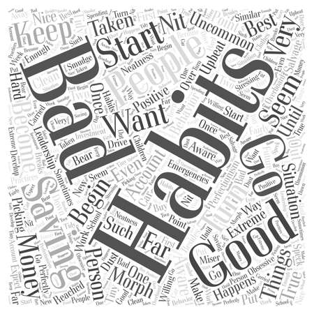 How Good Habits Can Turn into Bad Habits word cloud concept Çizim