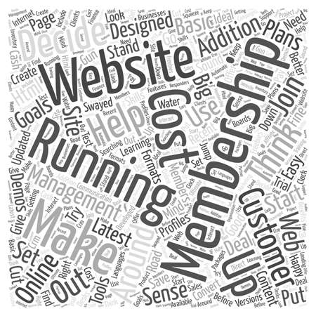 Thinking about Running a Membership Website word cloud concept