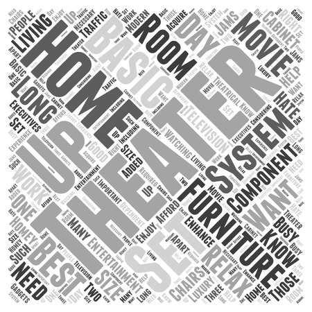 home theater furniture word cloud concept Ilustração