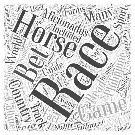 horse philippine racing tip word cloud concept