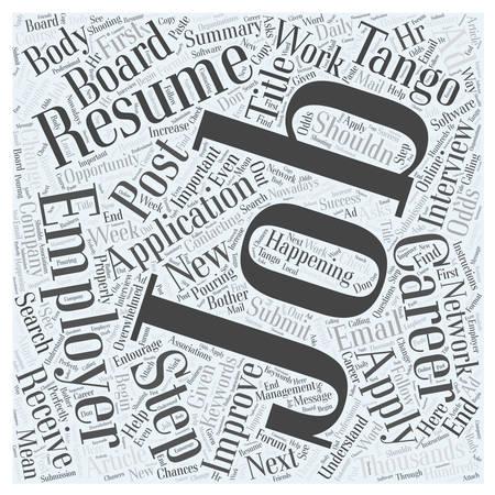The Job Application Tango word cloud concept Illusztráció