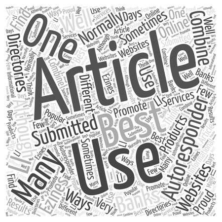 El uso de artículos con Autoresponders concepto de nube de palabras