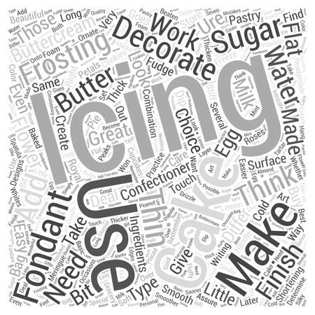 What Frosting To Use In Your Cake Decorating word cloud concept Ilustração
