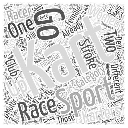 Karting Een Vrouw Sport Too woord wolk concept Stock Illustratie