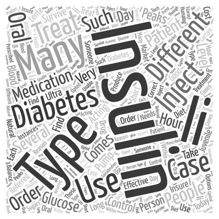 Insulin to treat diabetes word cloud concept Çizim