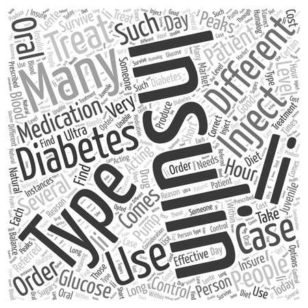 Insulin to treat diabetes word cloud concept Ilustração